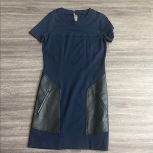 Bcbg blue and black leather dress for work or play